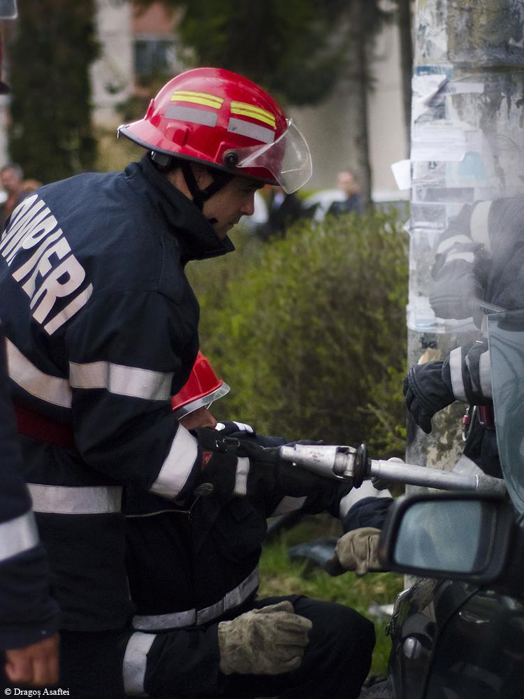 Accident urmat de incendiu în Odorheiu-Secuiesc