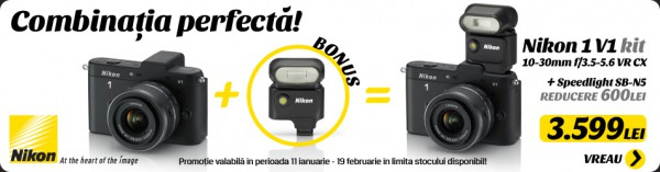 Nikon 1 V1 + 10-30 VR și, gratuit, blițul SB-N5!