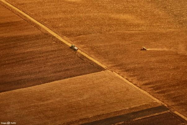 Munca agricolă fotografiată din zbor